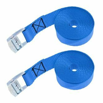 Two x 2.5 metre Cam Buckle Lashing/Tie Down Straps for Carriers Luggage Cargo